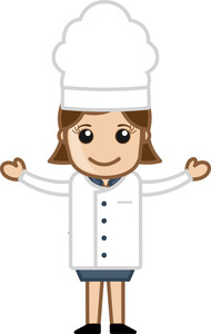 Happy Chef Woman Presenting - Cartoon Vector