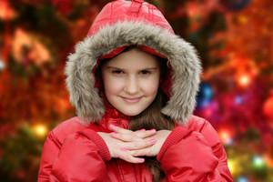 Happy Christmas - Little Girl And Christmas Tree (defocused Christmas Tree Lights)