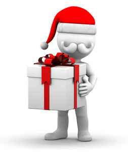 Happy Christmas Santa With Gift Box