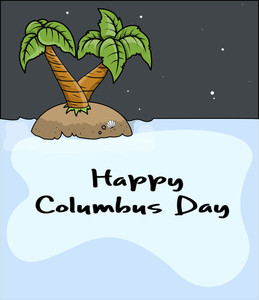 Happy Columbus Day Beach Tree Vector Graphic