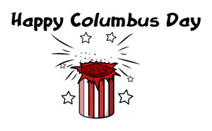 Happy Columbus Day Burst Banner