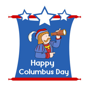 Happy Columbus Day Cartoon Graphic Vector
