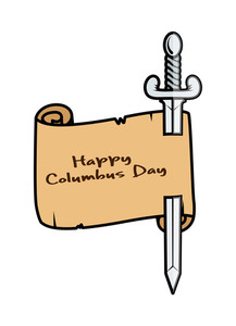 Happy Columbus Day Paper Banner With Sword