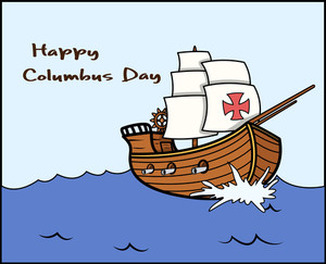 Happy Columbus Day Sailing Boat Vector Graphic