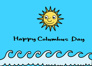 Happy Columbus Day Vector Sun Banner