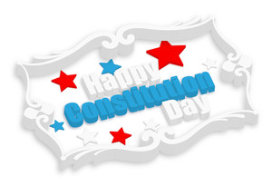 Happy Constitution Day Vector In 3d Text