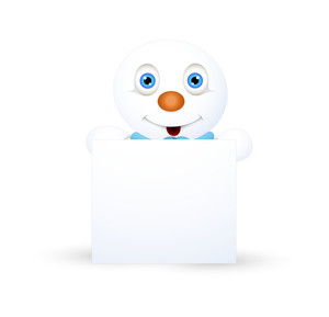 Happy Cute Snowman With Blank Board