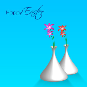 Happy Easter Background Or Card With Beautiful Flowers.