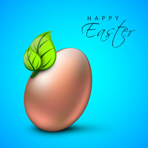 Happy Easter Background Or Card With Creative And Decorated Egg With Green Leaves On Blue Background.