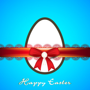 Happy Easter Background Or Card With Creative And Decorated Egg With Red Ribbons On Blue Background.