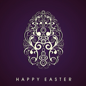 Happy Easter Background Or Card With Creative And Floral Decorated Egg On Purple.
