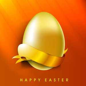 Happy Easter Background Or Card With Creative And Golden Egg.