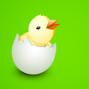 Happy Easter Background Or Card With Cute Chick Coming Out From Egg On Shiny Green Background.