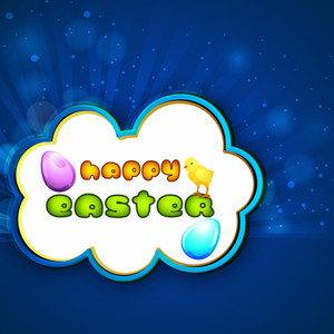 Happy Easter Background Or Card With Decorated Egg And Stylish Text On Shiny Blue Background.