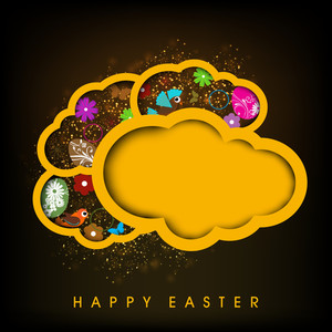 Happy Easter Background Or Card With Decorated Egg.