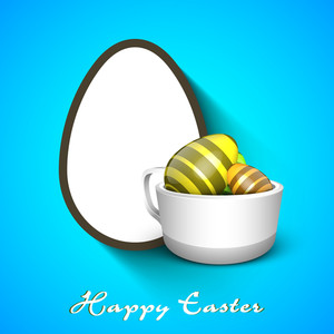 Happy Easter Background Or Card With Decorated Eggs On Shiny Blue Background.