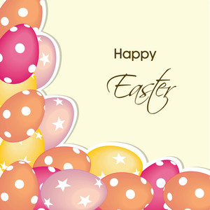 Happy Easter Background Or Card With Decorated Eggs.