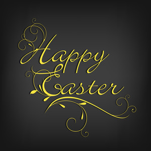 Happy Easter Background Or Card With Golden Text On Grey Background.