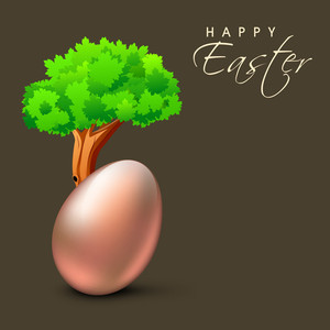Happy Easter Background Or Card With Shiny Copper Egg Under The Tree On Green Background.