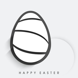 Happy Easter Background Or Card With Stylish Egg On Grey Background.