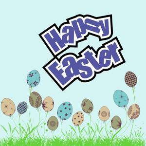 Happy Easter Background Or Card With Stylish Text And Decorative Eggs.