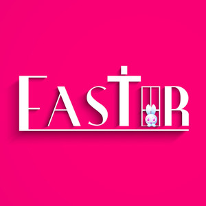 Happy Easter Background Or Card With Stylish Text On Pink Background.