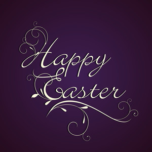 Happy Easter Background Or Card With Stylish Text On Purple Background.