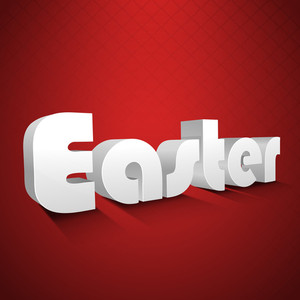 Happy Easter Background Or Card With Stylish Text On Red Background.
