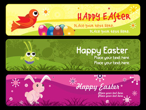 Happy Easter Day Banner Illustration