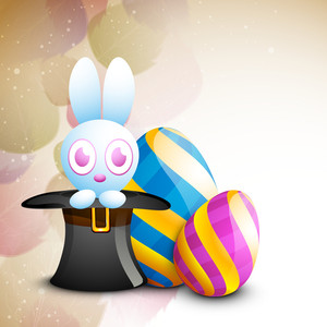Happy Easter's Day Concept With Beautiful Decorated Eggs And Cute Bunny On Abstract Background.
