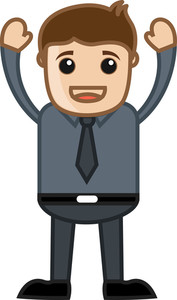 Happy Employee - Business Cartoon Character Vector