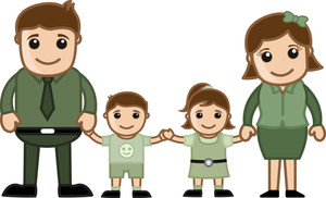 Happy Family - Vector Character Cartoon Illustration