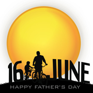 Happy Fathers Day Background With Silhouette Of A Father And Son
