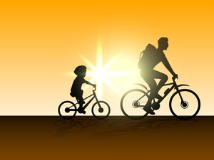 Happy Fathers Day Concept With Silhouette Of Father And Son