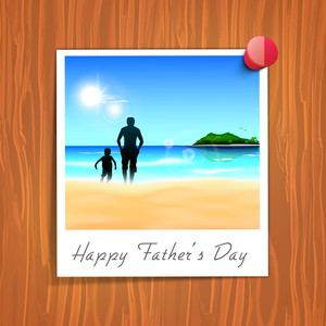 Happy Fathers Day Tag On Wooden Background