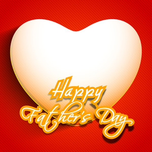 Happy Fathers Day Text With White Heart Shape On Red Background