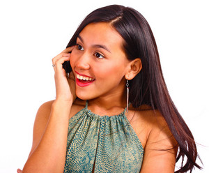 Happy Female Smiling And Chatting On The Phone