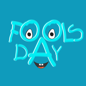 Happy Fool's Day Funky Background With Stl,ish Text And Funky Face On Blue Background.