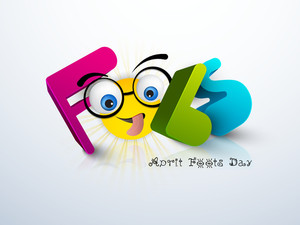 Happy Fool's Day Funky Concept With Colorful Funky Text And Funny Face On Grey Background.