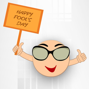 Happy Fool's Day Funky Concept With Funny Cartoon Holding Banner On Grey Background.