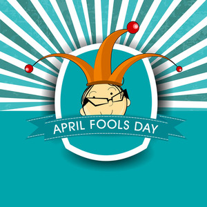 Happy Fool's Day Funky Concept With Funny Face Of A Man On Vintage Background.