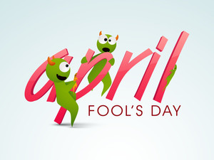 Happy Fool's Day Funky Concept With Funny Frog And Stylish Text On Blue Background.