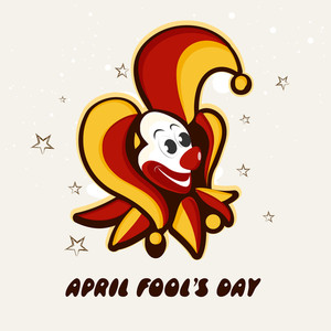 Happy Fool's Day Funky Concept With Funny Illustration Of A Joker On Stars Decorated Grey Background.