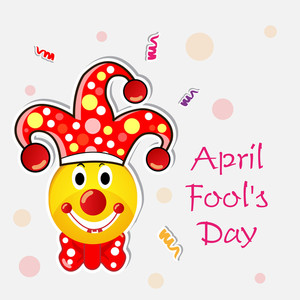 Happy Fool's Day Funky Concept With Funny Joker On Abstract Background.