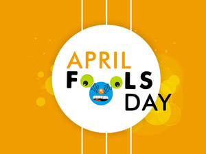 Happy Fool's Day Funky Concept With Sticker