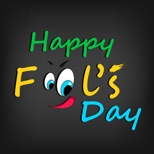 Happy Fool's Day Funky Concept With  Stylish Text And Funny Face On Grey Background.