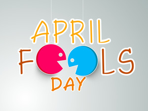 Happy Fool's Day Funky Concept With Stylish Text And Funny Faces On Grey Background.