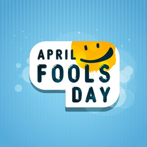 Happy Fool's Day Funky Concept With Stylish Text On Blue Background.