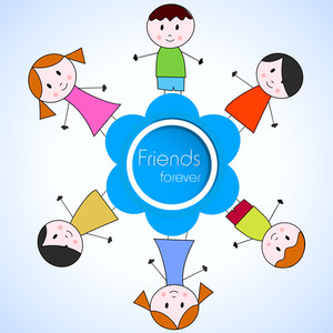 Happy Friends Circle Background With Friends On Blue.