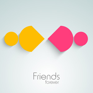 Happy Friendship Day Background With Colorful Silhouette Of Friends On Grey Background.